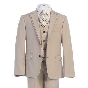 Boy's Beige Tan Suit with Pleat Detail on Lapel