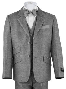 Boy's Light Gray Suit With Silver Trim