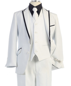 Boy's White 5 Piece Communion Suit With Black Trim