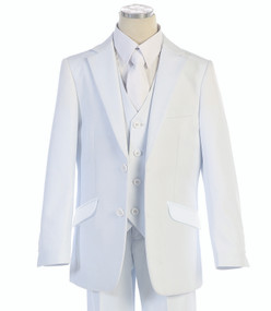 BJK Collection Boy's 5 Piece Communion Suit Slim Fit - White
