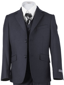 Azzurro Boys 3 Piece Suit Husky Fit - Navy