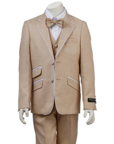 Boy's Beige Suit with White Piping