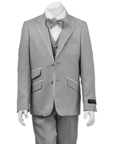 Boy's Light Gray Suit with White Piping