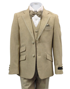 Boys' Beige Suit With Solid Trim on Lapel Slim Fit 4 Piece For Summer Weddings