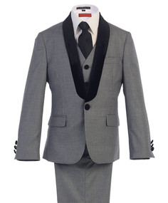 Boy's Grey 5 Piece Wedding Suit With Black Velvet Shawl Lapel
