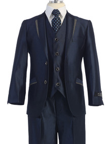 Boy's Blue Designer Suit 5 Piece