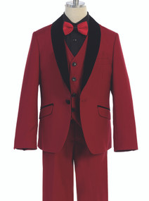 Boy's Cranberry 5 Piece Wedding Suit With Black Shawl Lapel