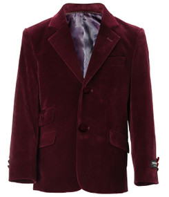 Toddler/Boys Velvet Blazer - Burgundy