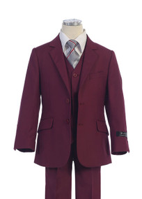 BJK Boy's Suit 5 Piece Slim Fit - Burgundy
