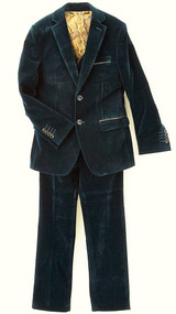 Isaac Mizrahi Boys Velvet Suit 3 Piece - Hunter Green