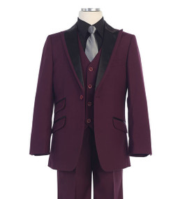 Boy's 5 Piece Holiday Suit With Black Satin Detail On Lapel - Burgundy