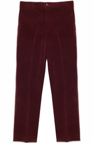 Armando Martillo Boy's Velvet Dress Pants Skinny Fit - Burgundy
