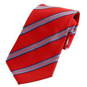 Boy's Red Striped Zipper Tie 14""