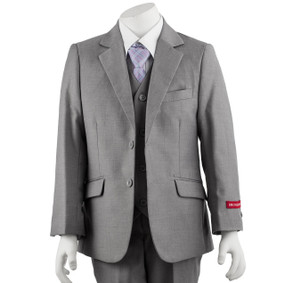 Boy's Light Grey Suit 5 Piece Slim Fit