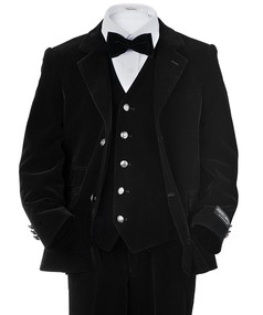 Toddler/Boy Black Velvet Suit 4 Piece