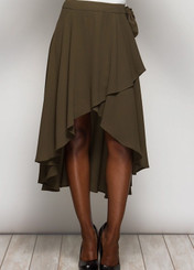 Flowy wrap skirt with ruffled edge and waist tie