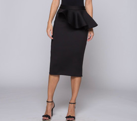 Midi Skirt with Asymmetric Peplum and Back Spilt