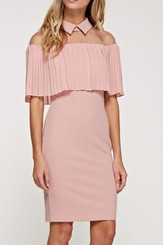 Collard Off the Shoulder Mesh Illusion Dress in Pink Blush...