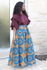 Pocketed Palazzo Pants with Belt and Bandeau in a Turquoise, Berry and Gold Print