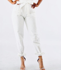 Belted Highwaist Linen Paperbag Pants with Tie Knots