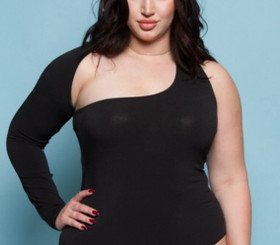 Asymmetric One Sleeve Bodysuit with forgiving fabric for the Curveology Collection in Black or White.