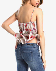 Floral print tank with adjustable straps in pleated chiffon within stretchable ruffled peplum.