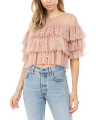 Layered mesh elusion top in blush pink  and pearls placements.
