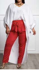Oversized High-Low V-neck Top with Extended Tail and Dramatic Sleeves