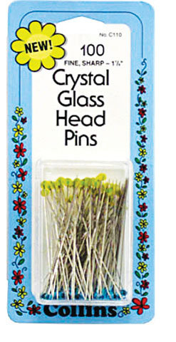 Crystal Glass Head Pins by Collins
