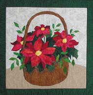 "Poinsettia Basket - New Technique of Foundation Paper Piecing Pattern - 24"" x 24"" Quilt Block"