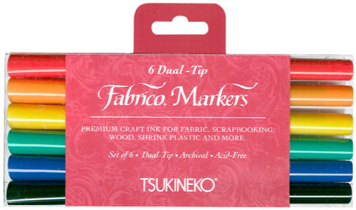 Fabrico Dual-Tip Fabric Markers - 6 Dual Tip Pens - Primary Colors