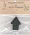 """Green Button House – A wood house shaped button – Green house, black roof – 1 1/2"""" long x 1"""" wide."""