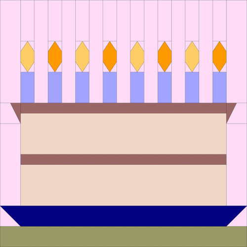 Birthday Cake Paper Pieced Themed Greeting Card