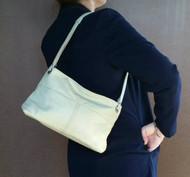 Apple green leather shoulder purse - small shoulder bag - Ivanna
