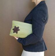 Green leather clutch - women fashion purse with flower - handmade handbags ivanka