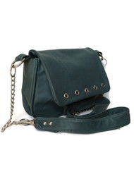 Hunter Green Leather Bag Purse - everyday crossbody shoulder handbag - handmade bags sury