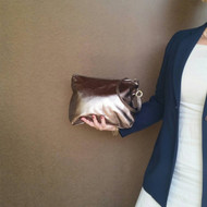 Metallic leather clutch - wristlet bag - bronze leather evening purse - classic and fashion handbag angel