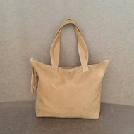 Camel Soft Leather Tote Handbag with Tassel - Large Suede Tote -  Carryall Purse - Casual Travel Shoulder Bag Jenny