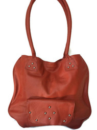 Coral pink leather tote purse - rustic flat classic style bag - shoulder handbag lora