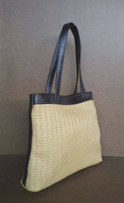 Tote Bag / Casual Shoulder Purse / Rustic Tote Woman Purses / Raffia and Leather Handbag yoselyn