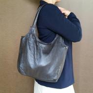 Dark brown leather purse / vintage leather bag / everyday shoulder handbag / autumn tote bony2