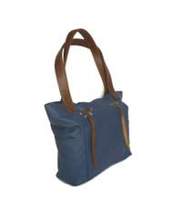 Blue leather bag / everyday shoulder purse with fringe detail / rustic design kenia