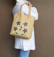 Cream leather tote bag / spring shoulder purse / shopper purse with decorative flowers on front yury