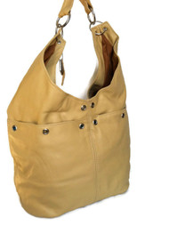 Cream beige leather hobo purse / women shoulder bag / casual bag / casual handbag kiara