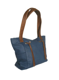 Blue leather shoulder bag - two tones handbag - handmade handbags kenia