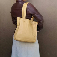 Cream tote leather purse / classic everyday bag / clean lines shoulder handbag annel