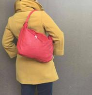 Rustic red leather handbag / everyday shoulder bag / unique handmade purse sofia