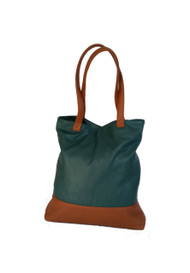 Women's Leather Tote Purse Bag - Unique Handmade Shoulder Bags - Green Two Tones Carryall Handbag - Totes yosy