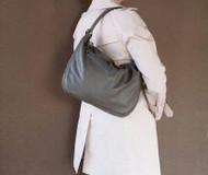 Gray Leather Purse - Unique Shoulder Bag - Handmade Casual Handbag - Sofia