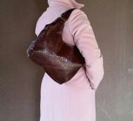 Original Croco Brown Leather Shoulder Bag - Everyday Small Purse - Tote Handbag - bony